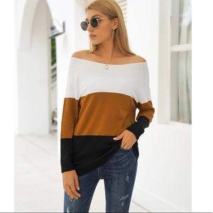 Women's Off The Shoulder Colorblock Sweater
